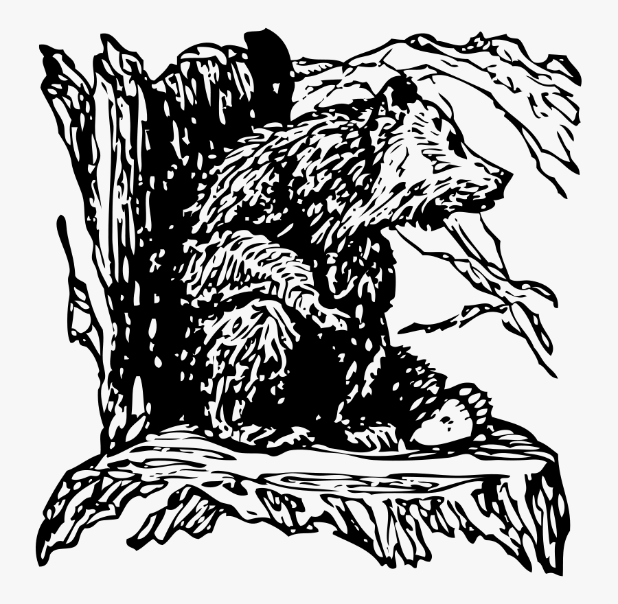 Bear On A Stump Png Clip Arts - Drawing Bear On A Stump, Transparent Clipart