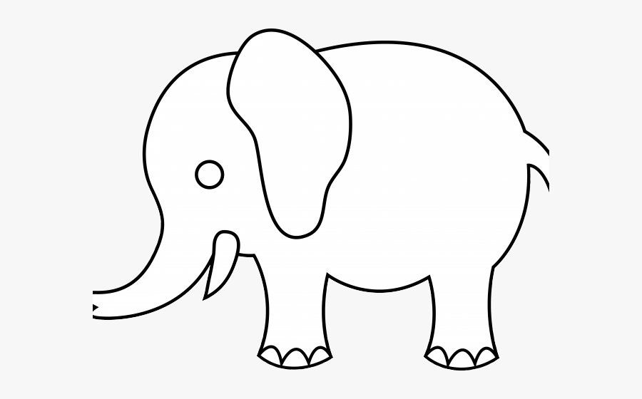 Drawing Outline Simple Elephant, Transparent Clipart