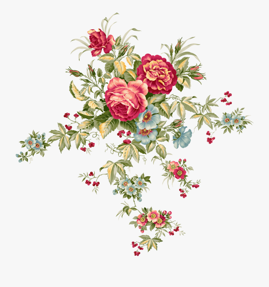 Vintage Flower Clipart - Vintage Floral Pattern Png, Transparent Clipart