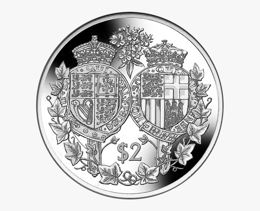 Black Crown With Shield Clipart - Coins 70th Wedding Anniversary Elizabeth And Philip, Transparent Clipart