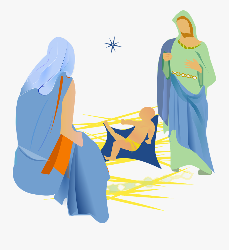 Blue,art,outerwear - Nativity With Christmas Tree Png, Transparent Clipart