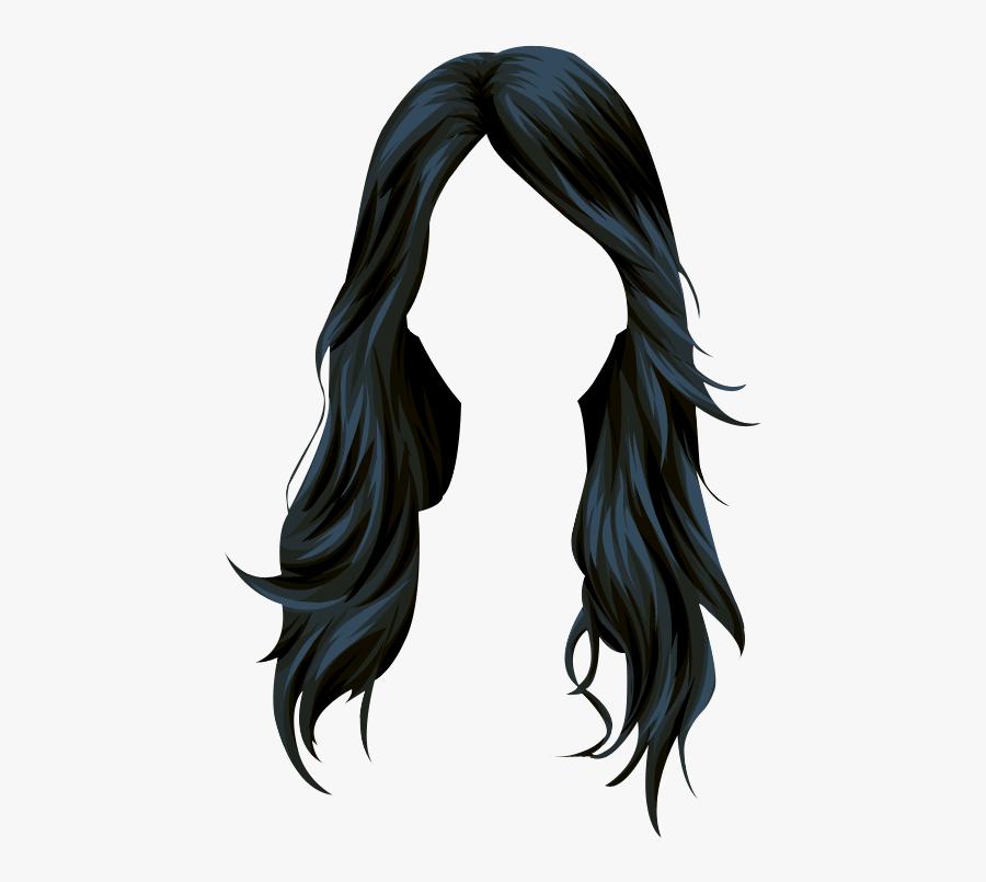 Wig Stardoll Long Hair Vector Black Clipart - Long Hair Vector Png, Transparent Clipart