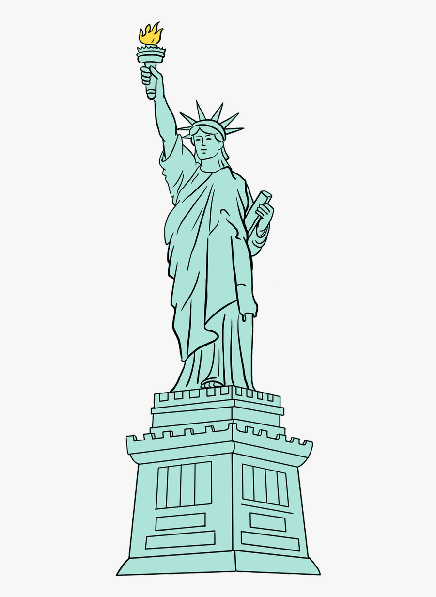Drawn Statue Of Liberty Easy - Statue Of Liberty Drawing Easy, Transparent Clipart