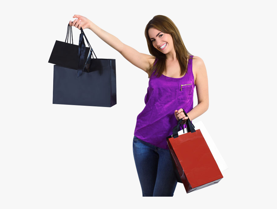 Transparent Cartoon Girl Png - Girl With Shopping Bags Png, Transparent Clipart