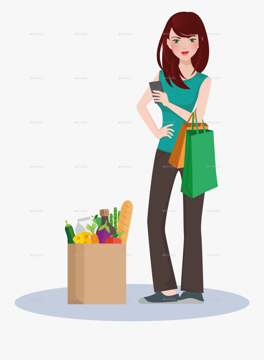 Graphic Library Girls Shopping Clipart - Transparent Cartoon Girls Shopping, Transparent Clipart