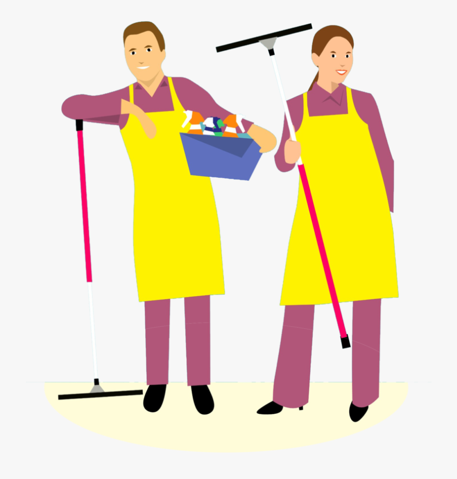 House Cleaning And Packing In Devon Graphic Black And - Cartoon Husband And Wife Cleaning House, Transparent Clipart