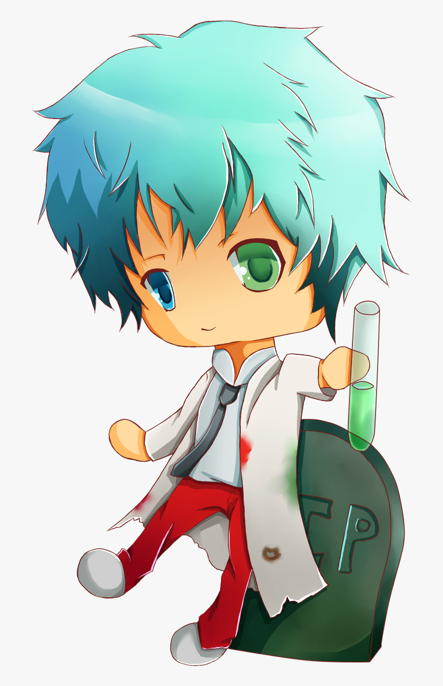 """Verdant Is Known As The """"vampire Robot"""", So I Gave - Anime Chibi Scientist Png, Transparent Clipart"""