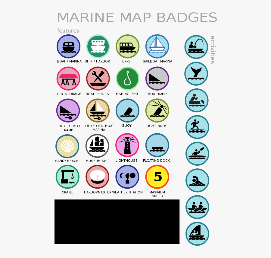 Marine Map Badges - Marine Map Icons, Transparent Clipart