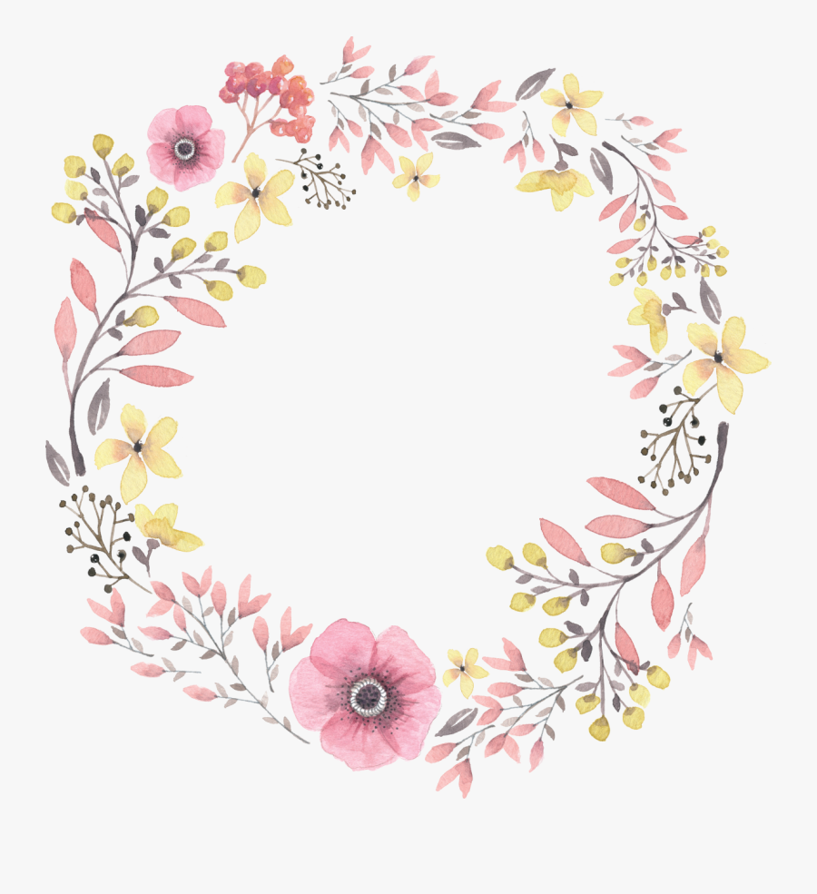 Painted Wreath Hand Watercolor Wreaths Iphone Clipart - Watercolor Wreath Flower Png, Transparent Clipart