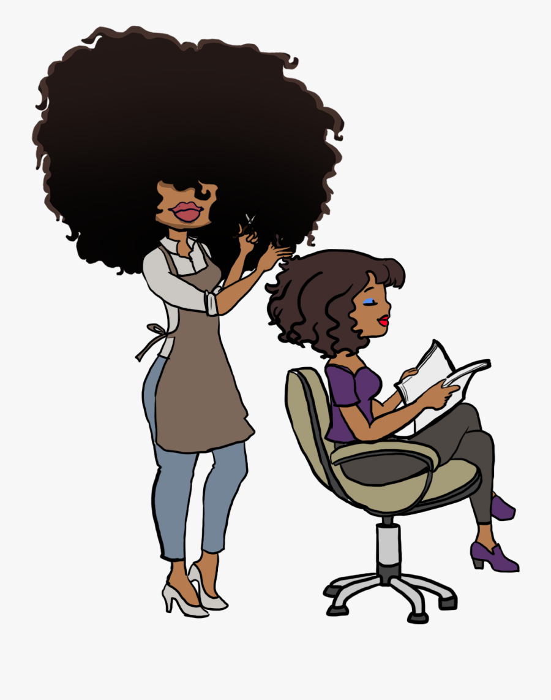 Black Hair Stylist Cartoon Free Transparent Clipart Clipartkey