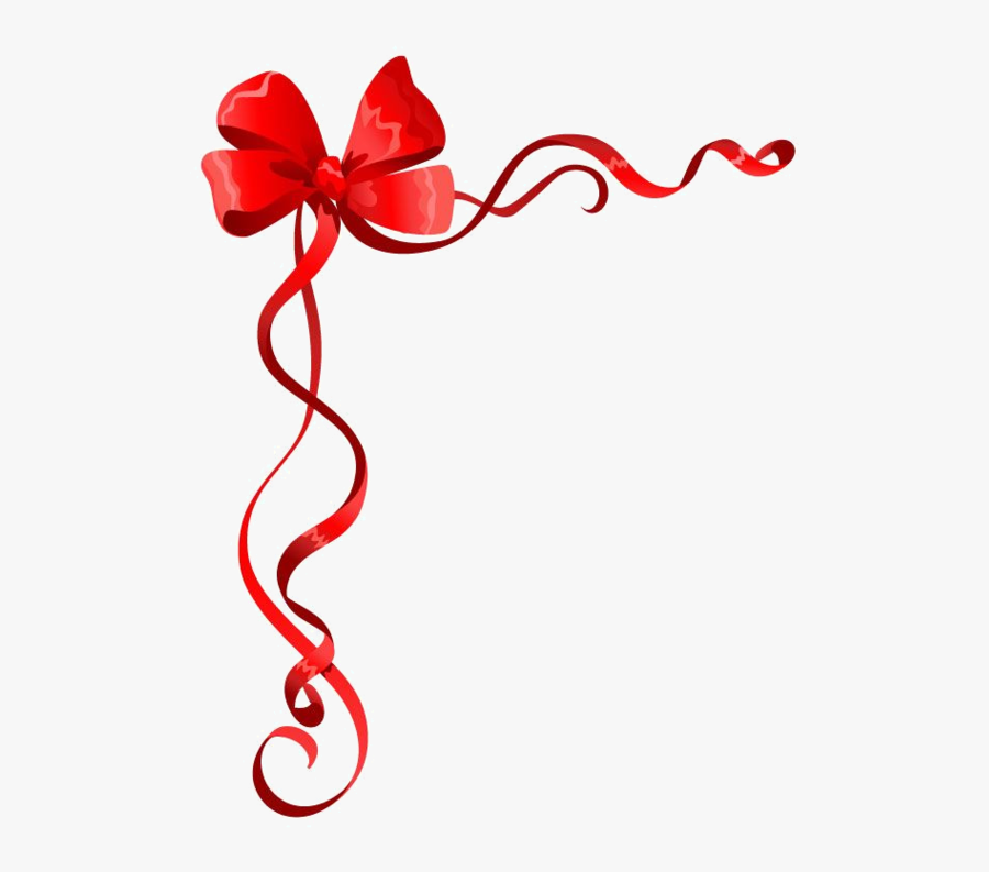 Red Ribbon Border Clipart - Ribbon Border Designs For Pages, Transparent Clipart
