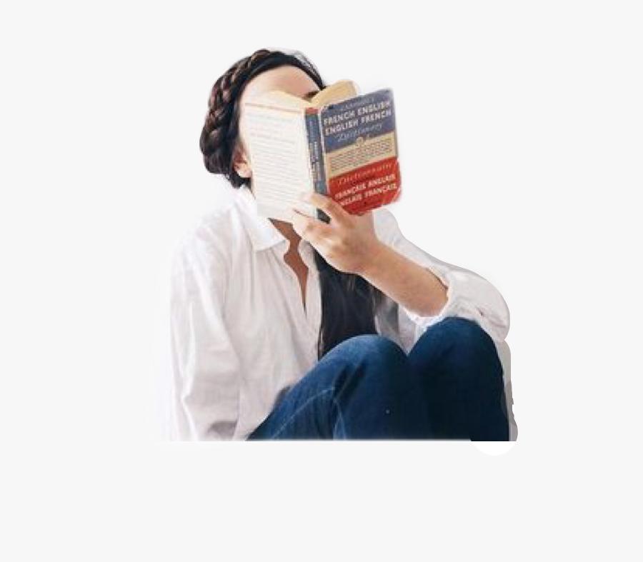 #girl #photo #white #hobby #hobbies #reading #read - Girl And Books Aesthetic, Transparent Clipart