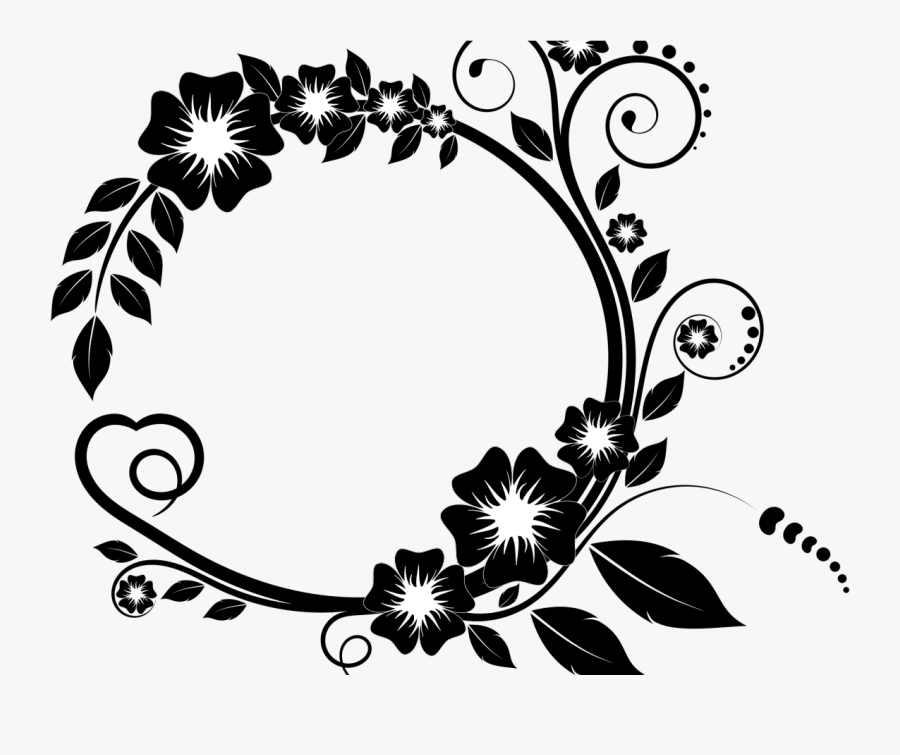 Flower Frame Clipart Black And White, Hd Png Download - Black And White Circle Border Design, Transparent Clipart