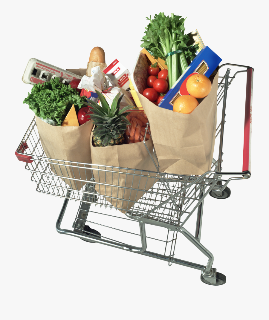Grocery Shopping Cart Free Png Image - Grocery Cart With Groceries, Transparent Clipart