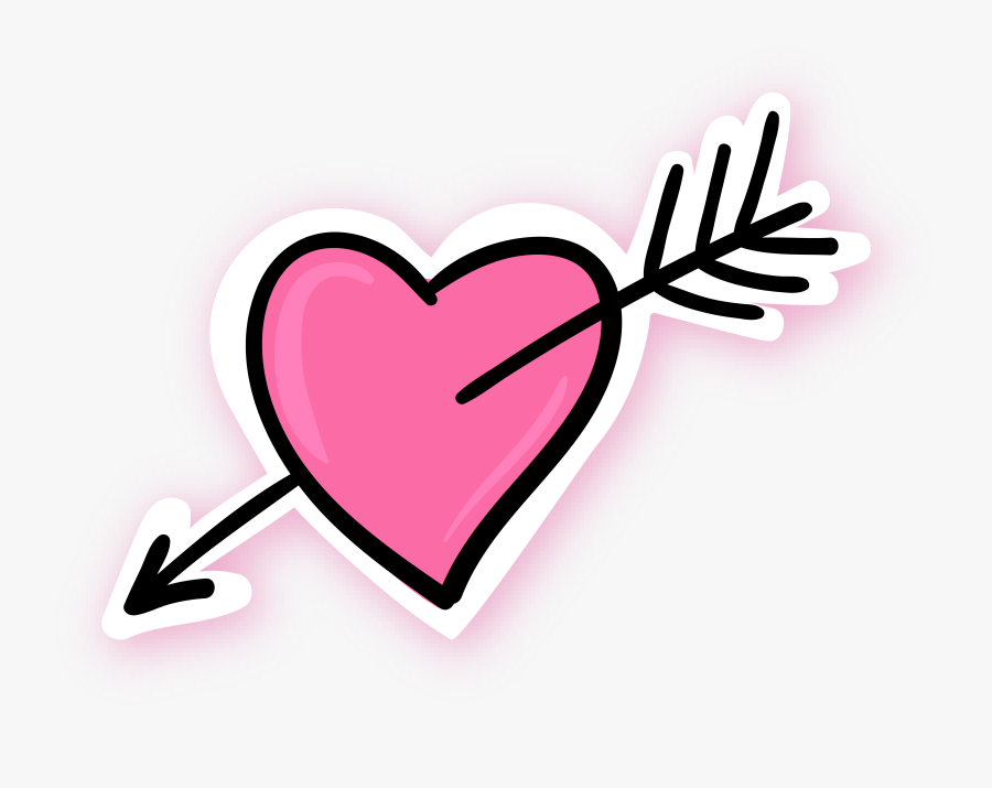 Arrow Through The Heart Pink Blue - Pink Heart With Arrow, Transparent Clipart