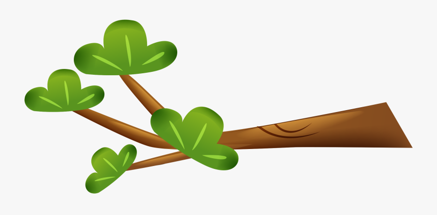 Clip Art Leaf Branch Animation Green - Tree Branch Cartoon Png, Transparent Clipart