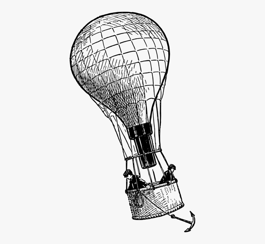 Line Art,head,area - Hot Air Balloon Anchor, Transparent Clipart