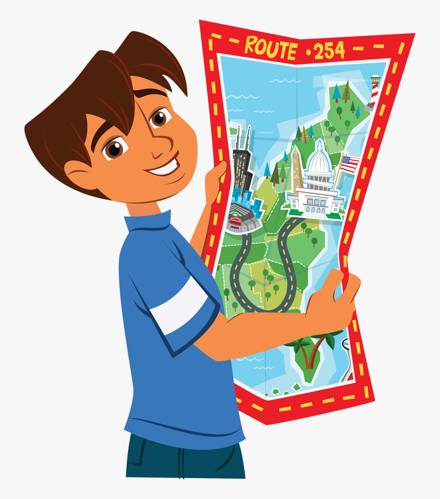 Pictures Of Map Cliparts - Kid With Map Clipart, Transparent Clipart