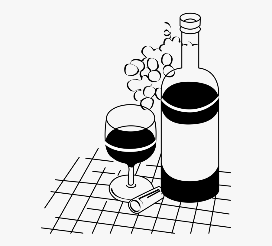Line Art,area,monochrome Photography - Bottles Of Wine Glass Drawing, Transparent Clipart