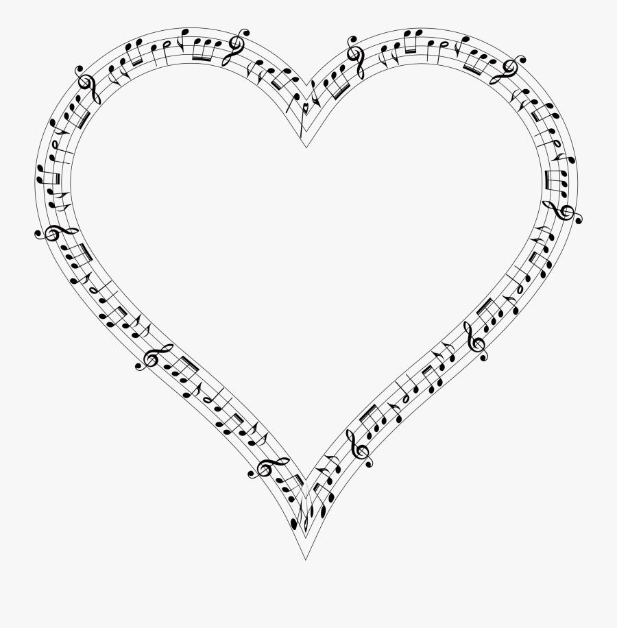 Music Note Clipart Heart - Music Note Heart Png, Transparent Clipart
