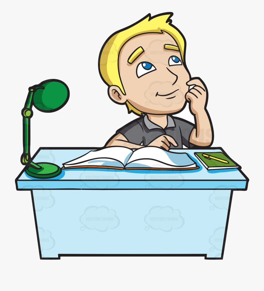 College Student Studying In Clipart Collection Transparent - Student Studying Cartoon, Transparent Clipart