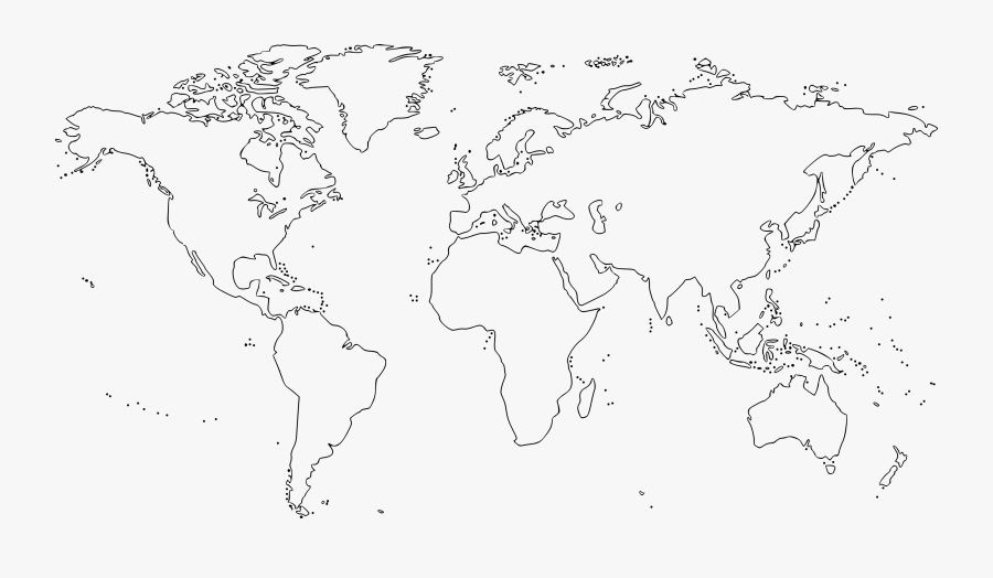 Black And White World - World Map Outline Png, Transparent Clipart
