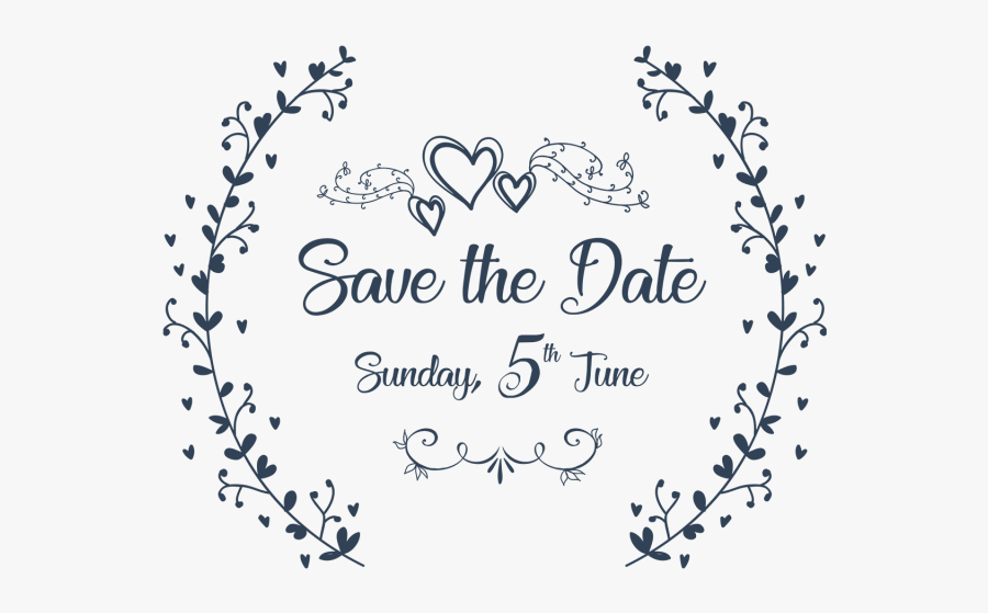 Clip Art Salvar A Data Convite - Save The Date With Transparent Background, Transparent Clipart