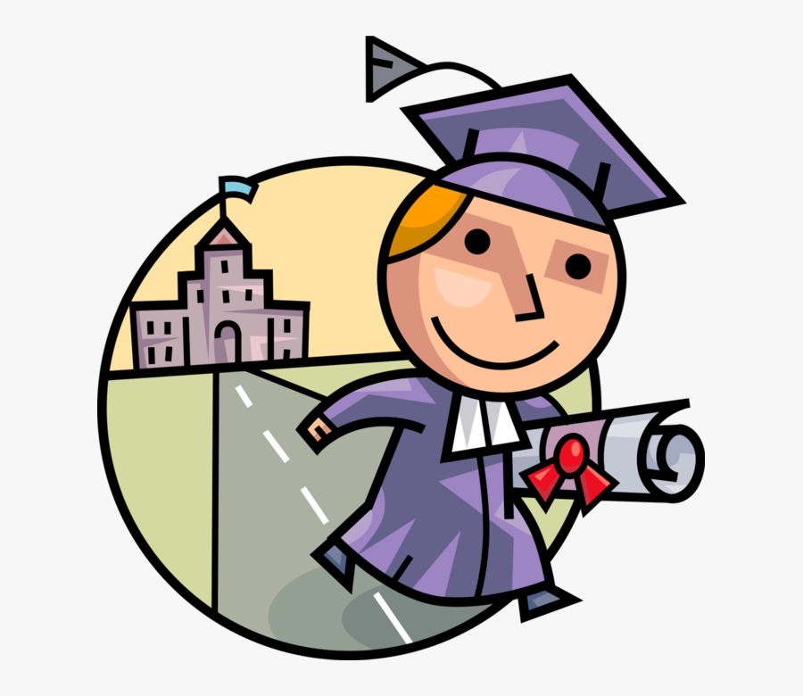 Vector Illustration Of High School, College, University - Graduation Clipart Student Png, Transparent Clipart