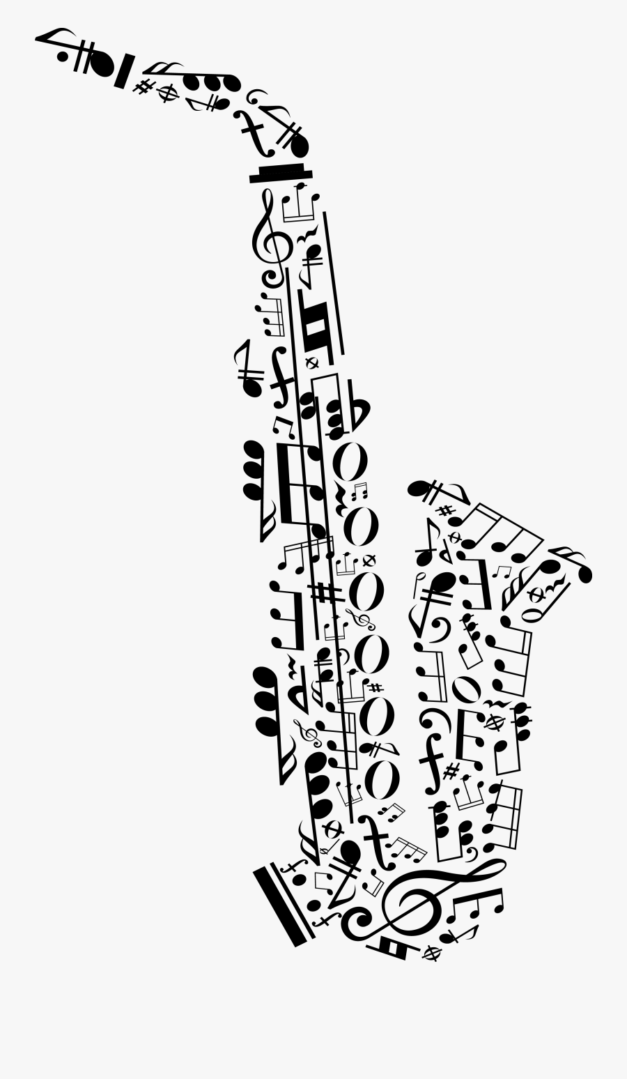 Transparent Music Notes Clip Art Png - Saxophone Made Of Music Notes, Transparent Clipart