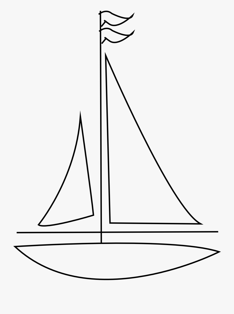 Sailboat Black And White Sailing Ship Clipart Bote - Easy To Draw Sail Boat, Transparent Clipart