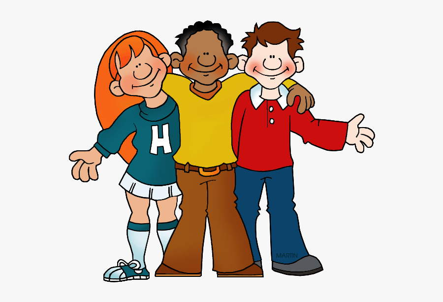 Family And Friends Clip Art By Phillip Martin, Three - High School Students Clipart, Transparent Clipart