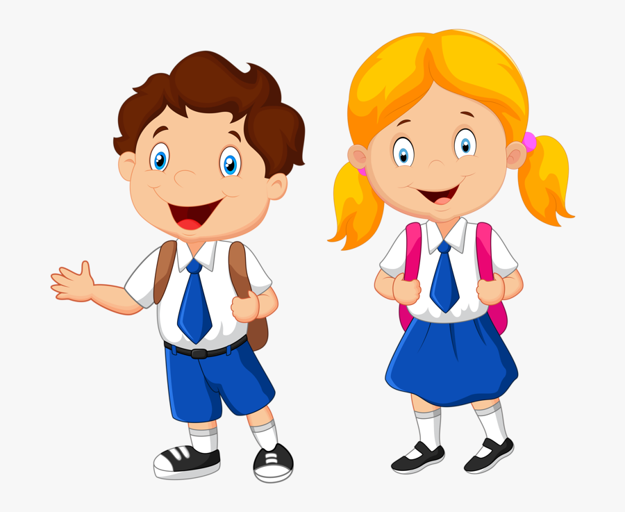Transparent Cartoon Kids Png - Boy And Girl In School Uniform Clipart, Transparent Clipart