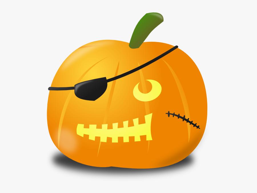 Pirate Pumpkin Clip Art At Clker - Sad Jack O Lantern, Transparent Clipart
