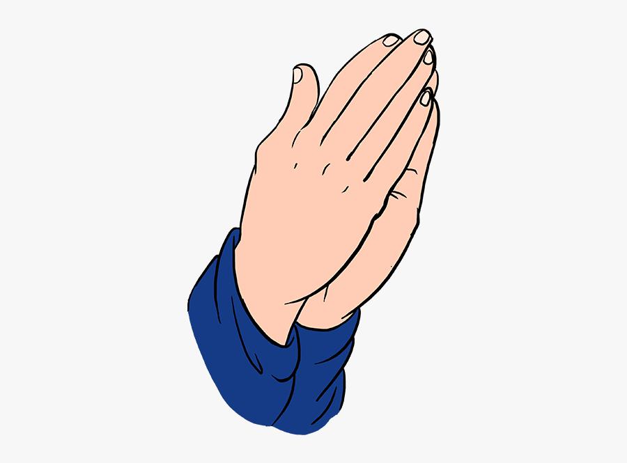 How To Draw Praying Hands - Transparent Prayer Hand Png, Transparent Clipart