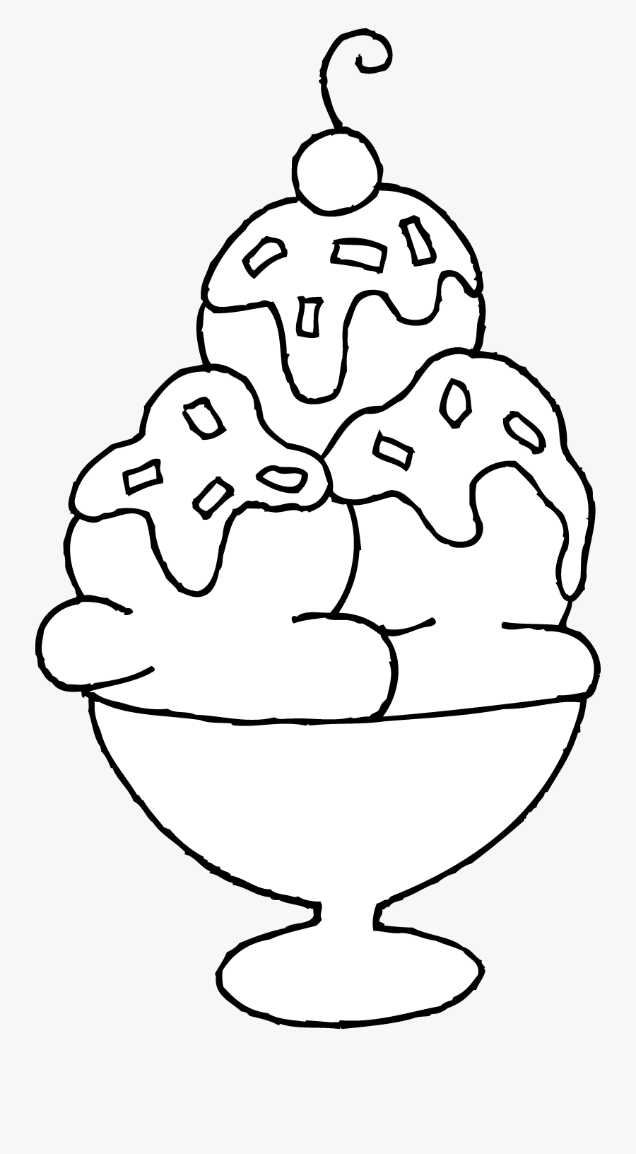 Ice Cream Sundae Coloring Page - Ice Cream Sundae Drawing Easy, Transparent Clipart