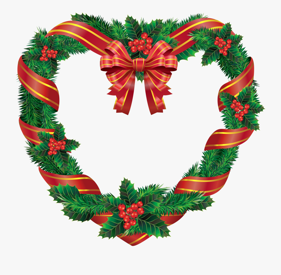 Heart Christmas Wreath - Christmas Heart Wreath, Transparent Clipart