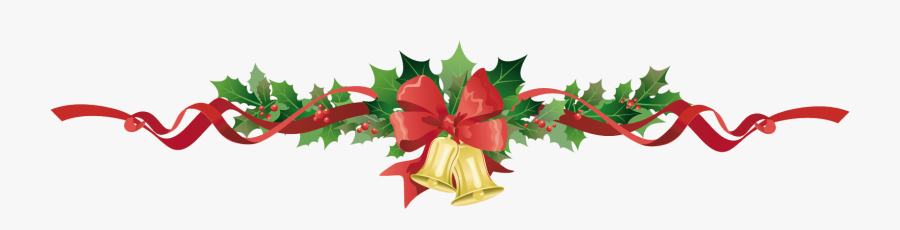 Poinsettia Garland Clipart Christmas Garland Bells - Christmas Garland Transparent Background, Transparent Clipart
