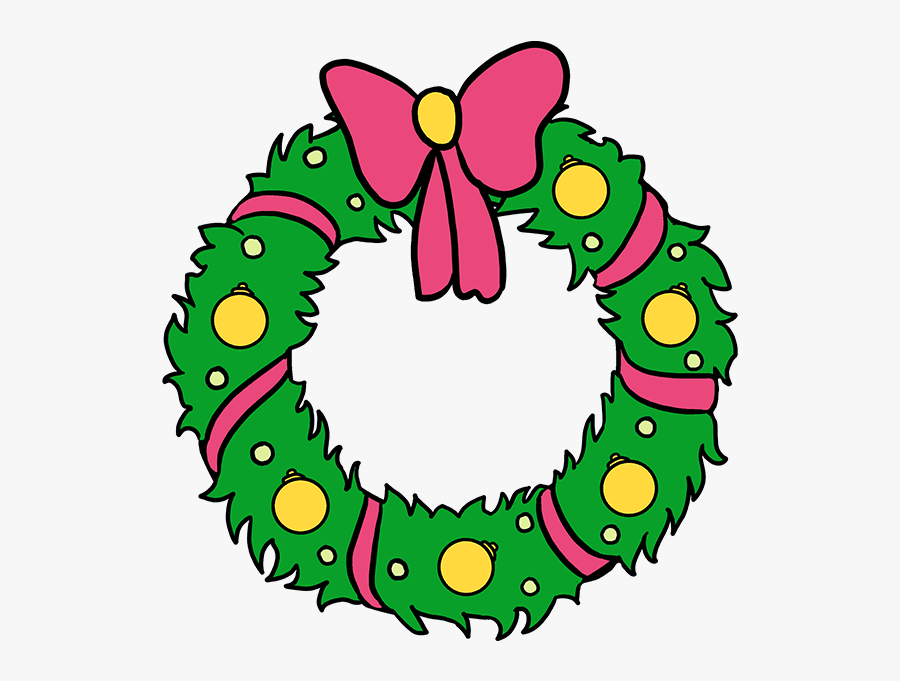 How To Draw Christmas Wreath - Easy Drawing Christmas Wreaths, Transparent Clipart