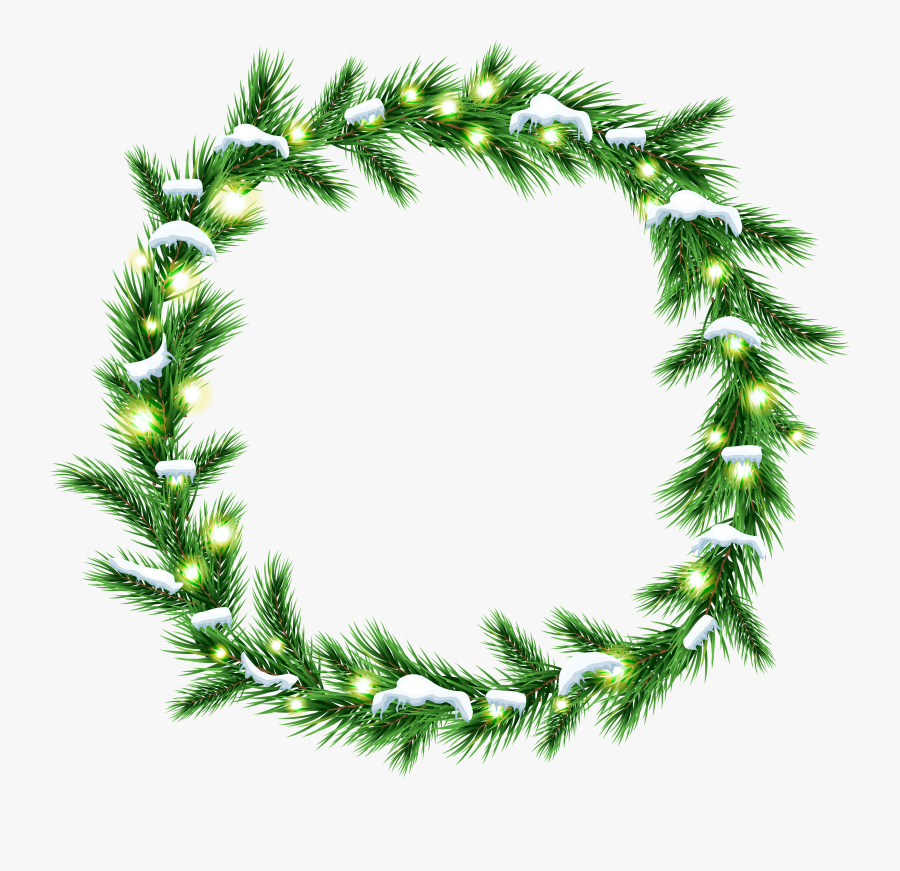 Christmas Wreath Clipart Black And White - Christmas White Wreath Png, Transparent Clipart