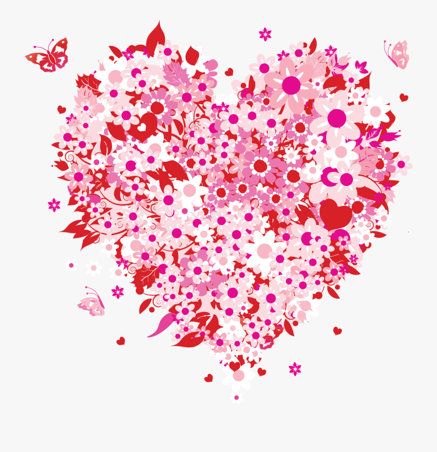 Mother's Day Hearts And Flowers, Transparent Clipart