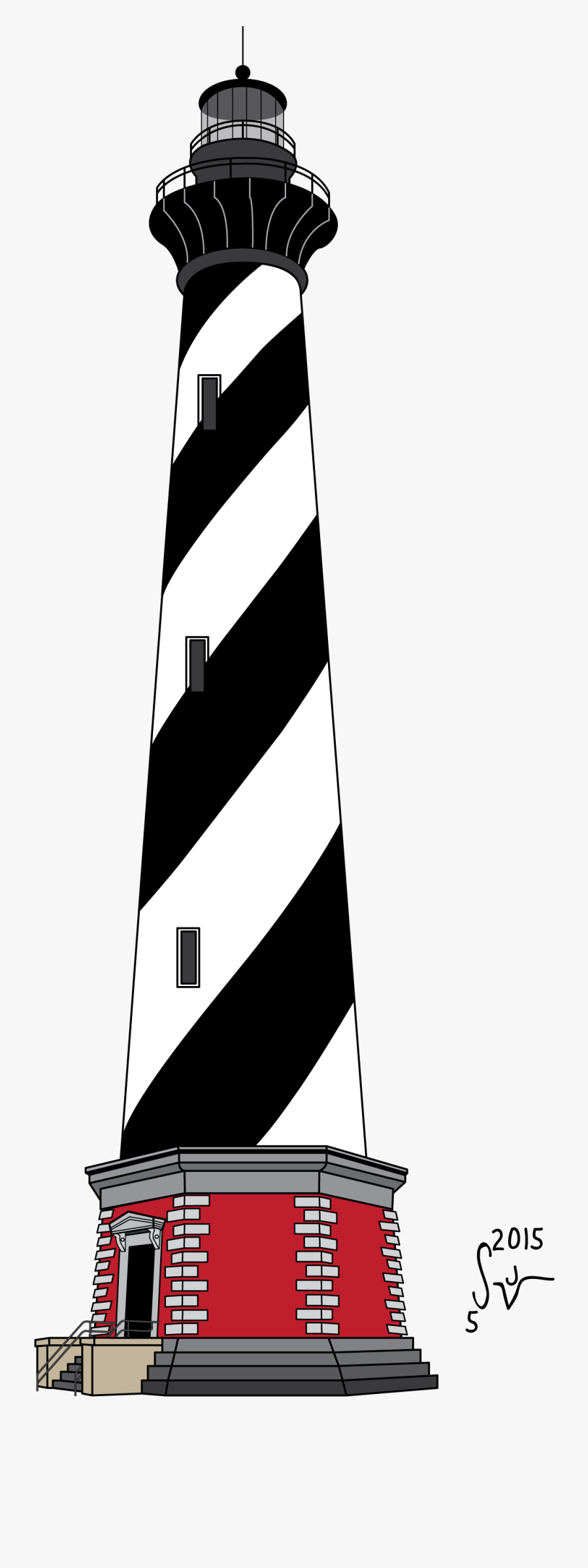 Drawn Lighthouse Cape Hatteras Lighthouse - Cape Hatteras Lighthouse Drawing, Transparent Clipart