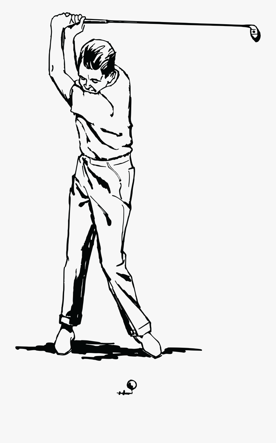 Golf Clipart Outline Person - Man Golf Clipart Black And White, Transparent Clipart