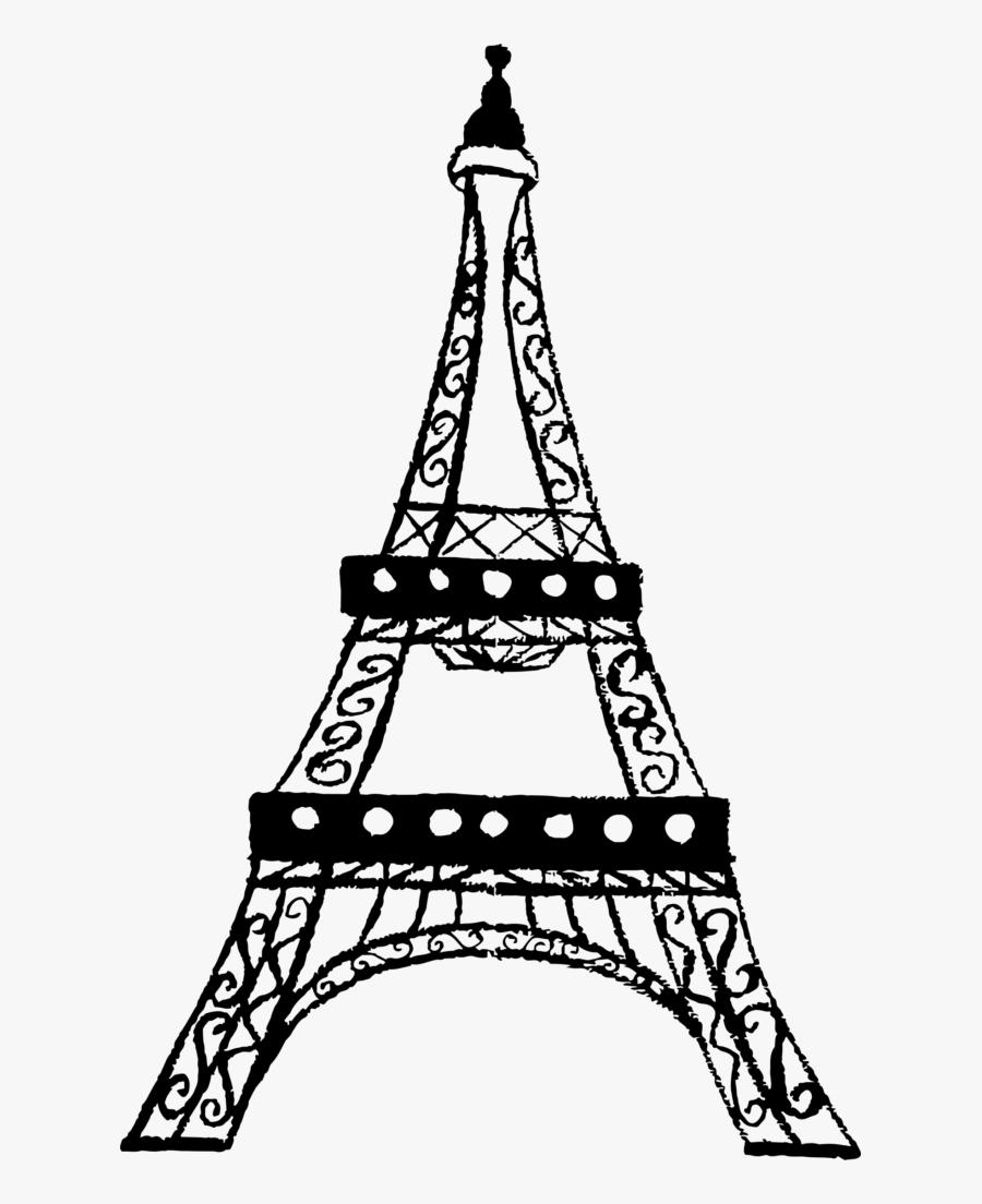Eiffel Tower Charcoal Sketch - Eiffel Tower Clipart Transparent Background, Transparent Clipart