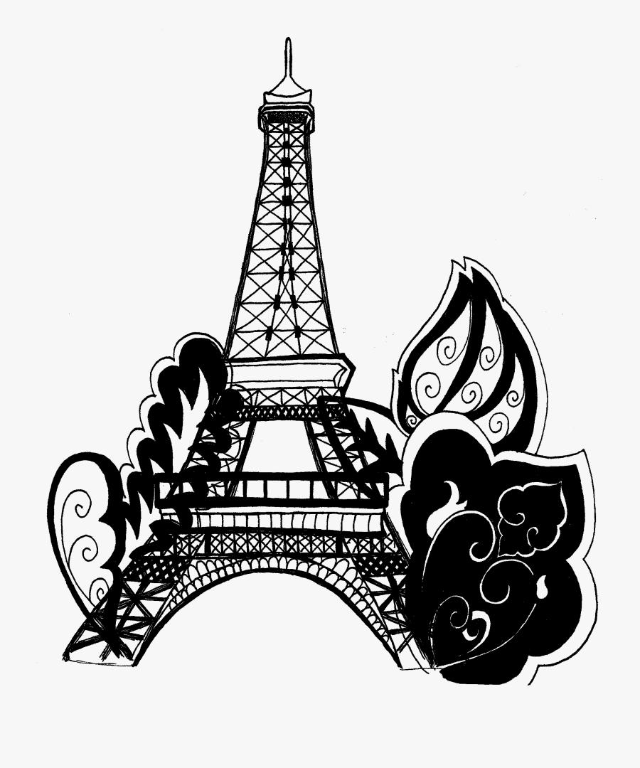 Transparent Paris Clipart - Eiffel Tower Paris Printable Coloring Pages, Transparent Clipart
