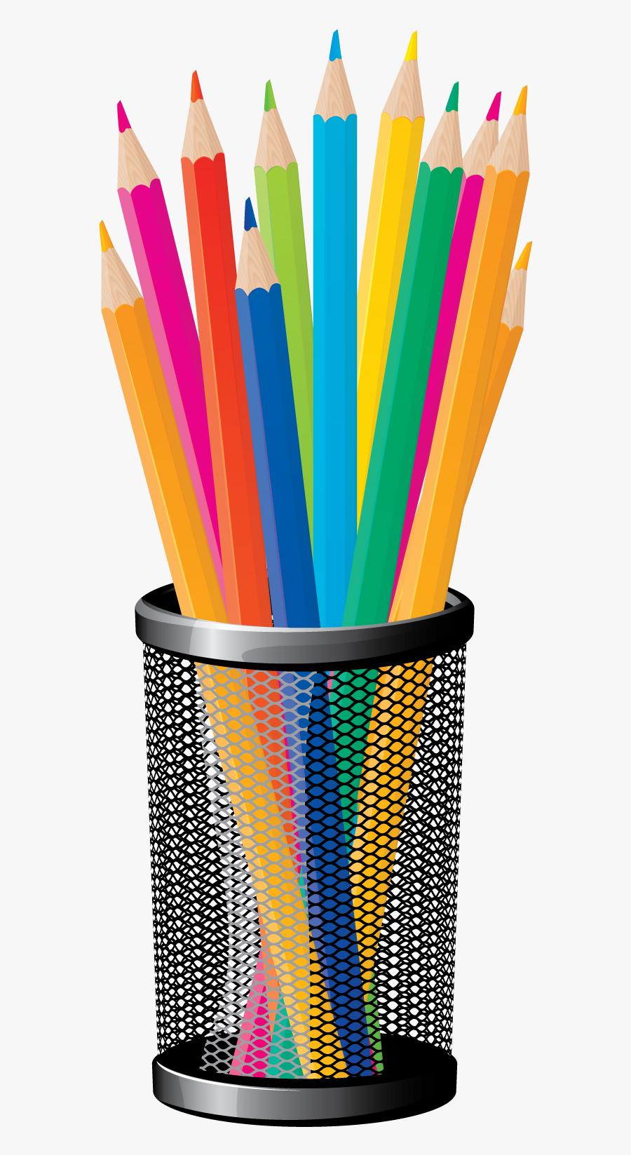 Clip Art Pencil Cup Png Clipart - School Supplies Transparent Background, Transparent Clipart