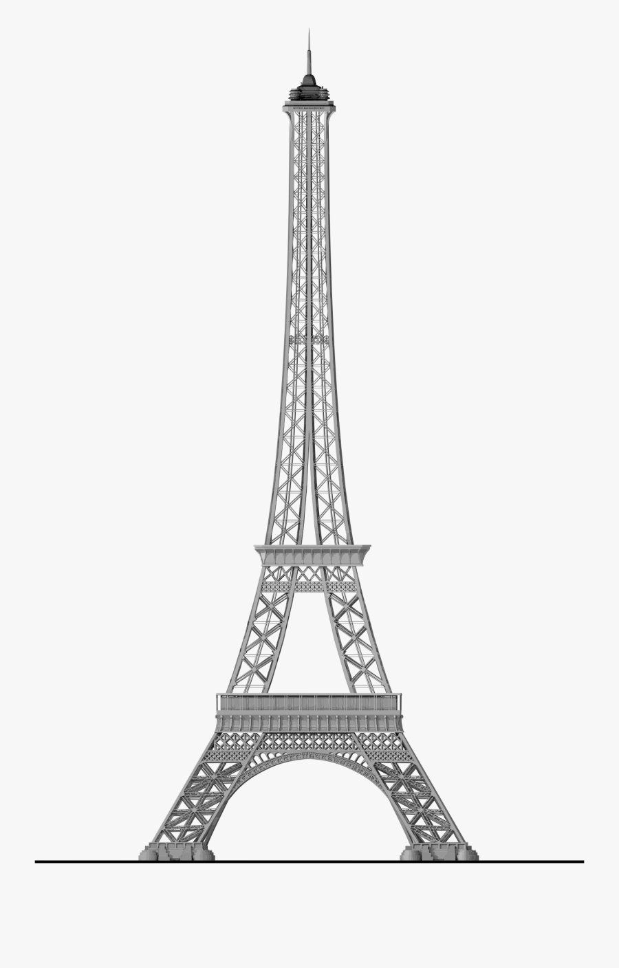 Transparent Paris Skyline Clipart - Eiffel Tower Drawing Big, Transparent Clipart