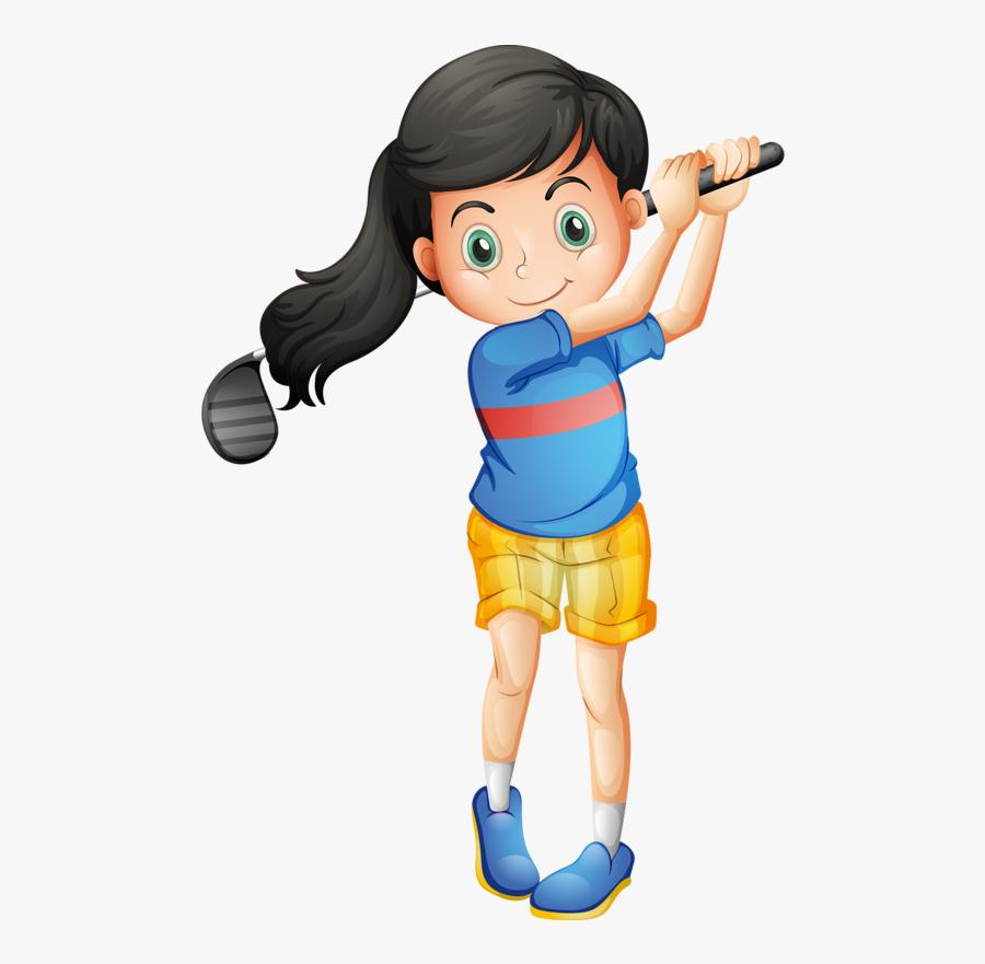 Golf Clipart Golf Shoe - Cartoon Girl Playing Golf, Transparent Clipart