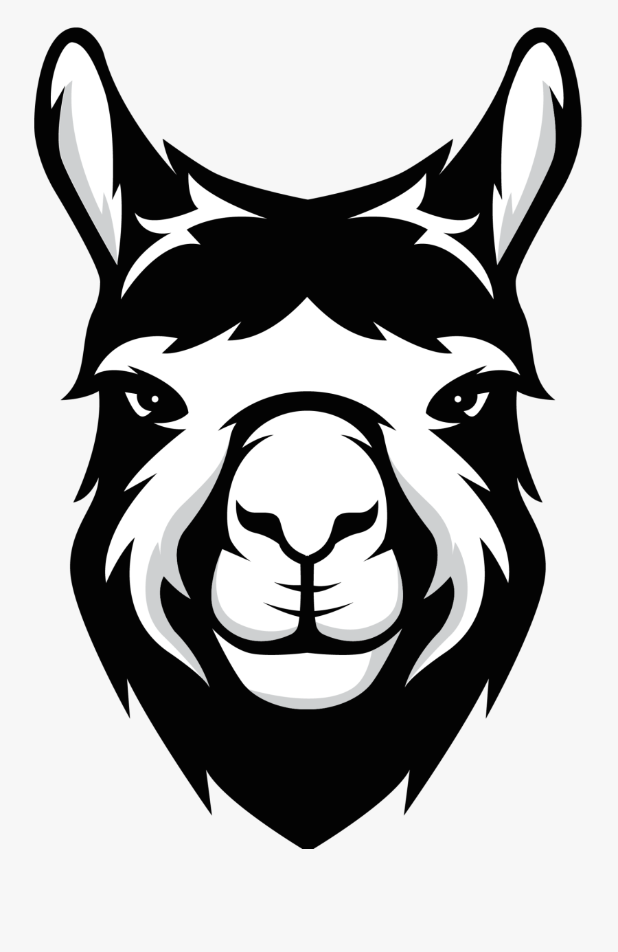 Clip Art Png Black For - Llama Face Clipart Black And White, Transparent Clipart
