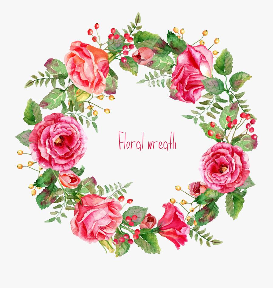 Christmas Wreath Png Transparent - Watercolor Flower Wreath Svg, Transparent Clipart