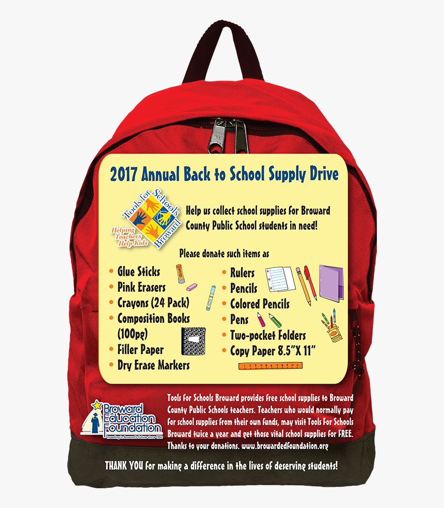 Backpack Clipart Teacher - Free Back To School Supplies 2017, Transparent Clipart
